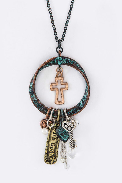 Matthew 19:26 Mix Charm Necklace