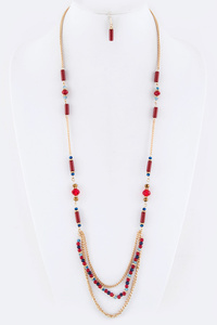 Layered Beads Station Necklace Set