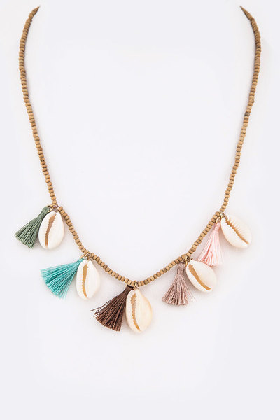 Sea Shell Fringe Tassel Necklace