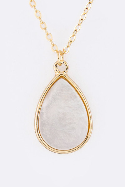 MOP Teardrop Pendant Necklace