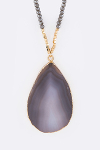 Semi Precious Stone Teardrop Pendant Necklace