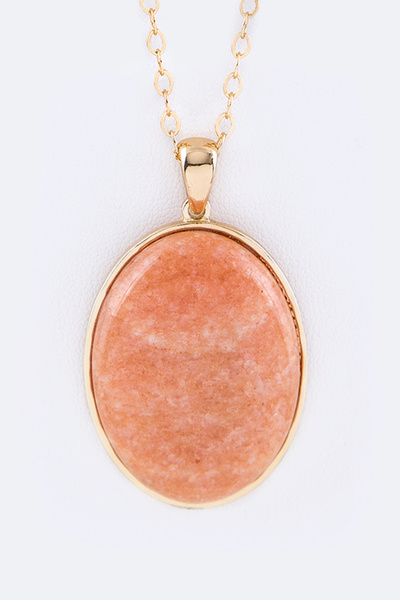 Precious Stone Oval Pendant Necklace