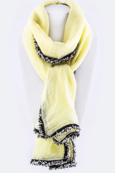 Fringe Lace Edge Viscose Scarf
