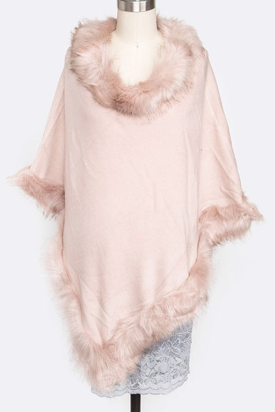 Faux Fur Fashion Poncho