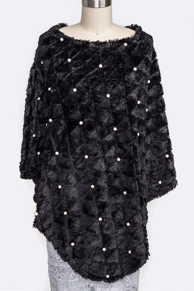 Pearl Accent Textured Velvet Soft Poncho