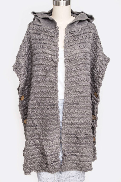 Raised Knit Hooded Side Button Poncho