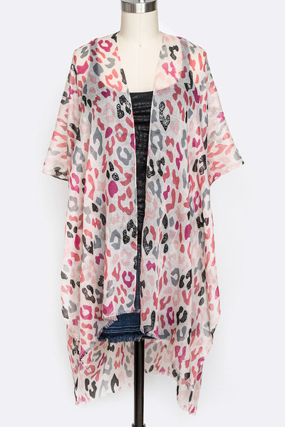 Animal Print Color Light Weight Kimono Cardigan