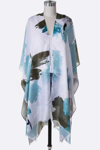 Watercolor Printed Light Weight Kimono
