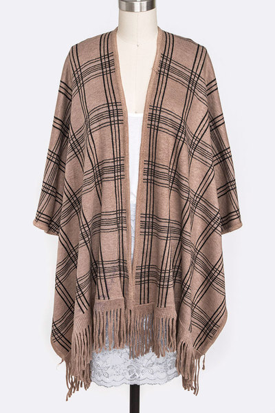Grid Print Winter Cardigan