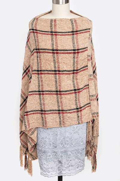 Soft Plaid Fringe Poncho