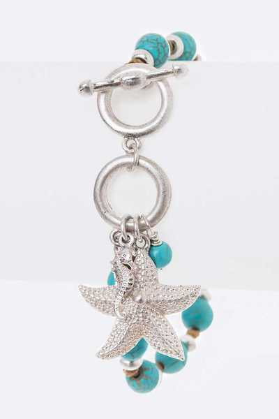 Starfish Charm Hand Knotted Toggle Bracelet
