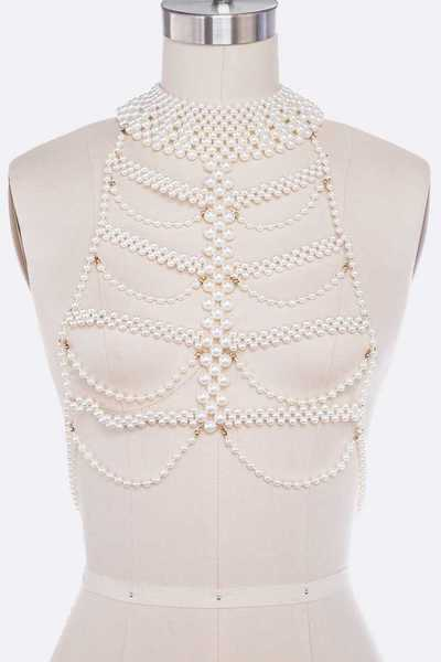 Pearl Strands Statement Body Chain