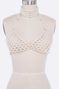 Pearls Choker Statement Bra Chain