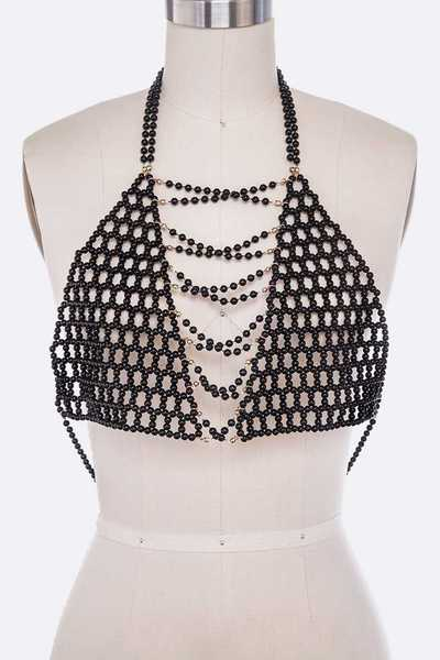Pearls Beaded Statement Body Chain