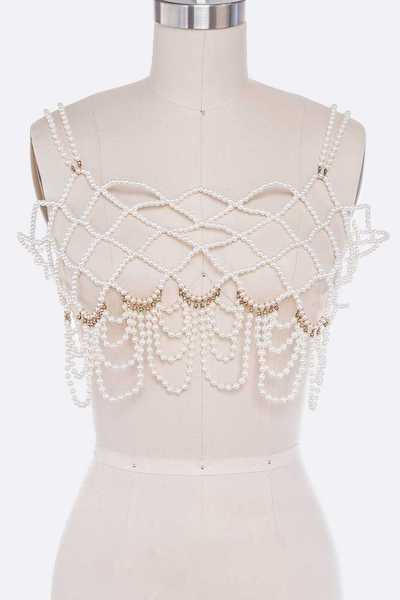 Iconic Statement Pearl Beaded Body Chain