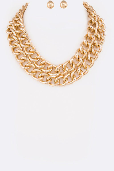 Layer Chunky Chain Necklace Set