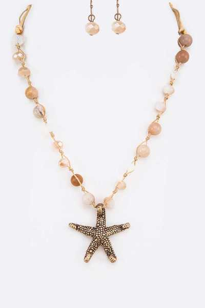 Starfish Pendant Knotted Natural Beads Necklace Set