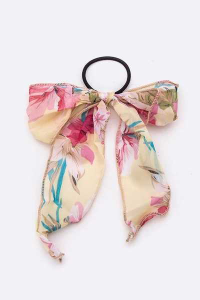 Floral Printed Bow Hair Tie Set