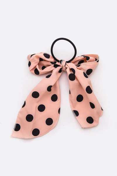 Polka Dot Printed Bow Hair Tie Set