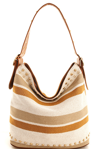 Designer Woven Striped Hobo Bag