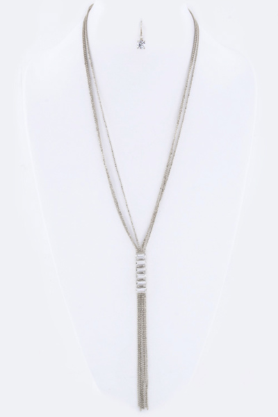 Baguette Crystals & Fringe Chain Necklace Set