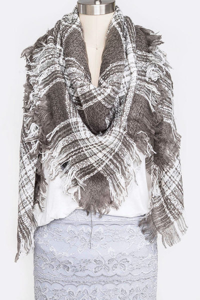 Mix Plaid Fringe Blanket Scarf