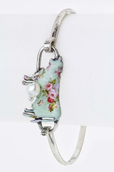 Rose Print Cow Hook Bangle