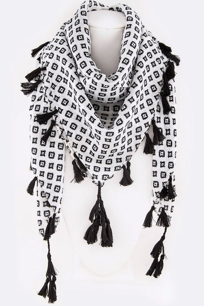 Tribal Square Print Cotton Tassel Viscose Scarf