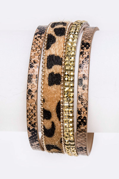 Cheetah Print Mix Media Magnetic Bracelet
