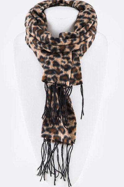 Fleeced Leopard Print Fashion Scarf Set