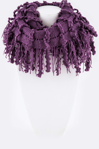 Lacey Mix Knit Fringe Infinity Scarf Set