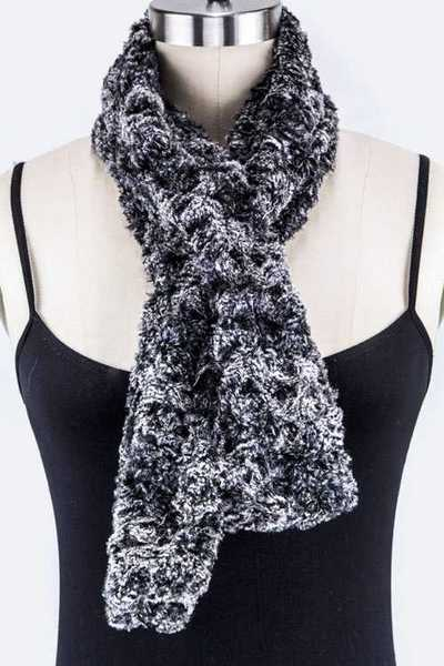 Metal Hooped Fur Scarf