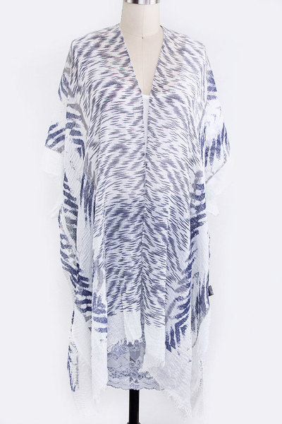Animal Print Crinkle Light Weight Kimono Cardigan