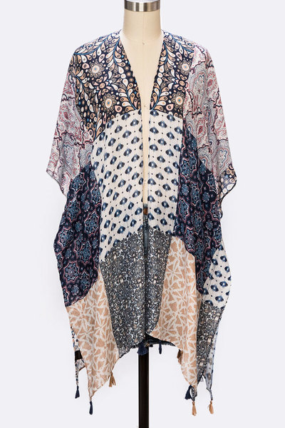Mix Print Patch Work Tassel Kimono Cardigan