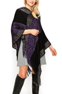 Block Color Hooded Fringe Poncho