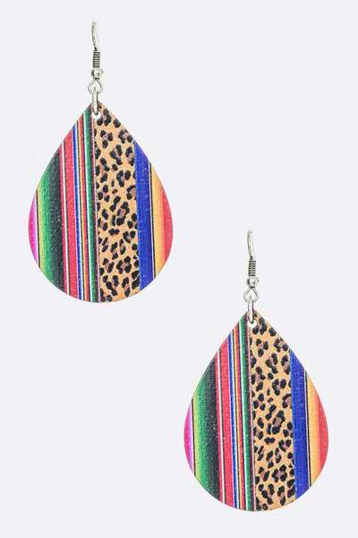 Mix Print Faux Leather Teardrop Earrings