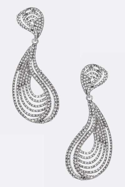 Crystal Wavy Designed Drop Earrings
