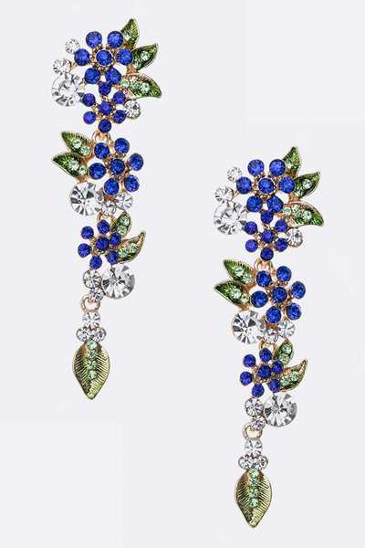 Crystal Flower Long Drop Earrings