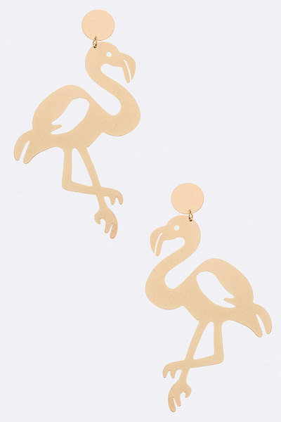 Metal Flamingo Earrings - L