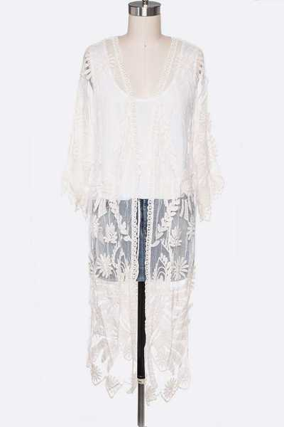 Lace Leaf Embroidered Long Cardigan
