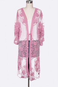 Lace Embroidered Iconic Long Cardigan