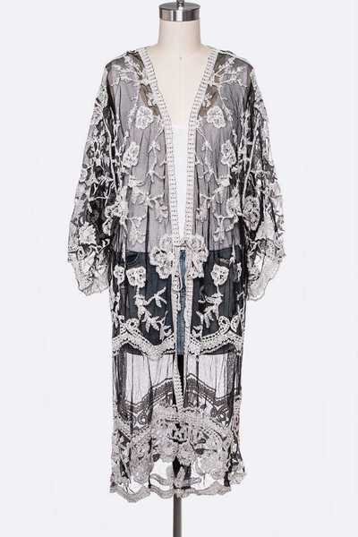 Lace Embroidered Long Cardigan