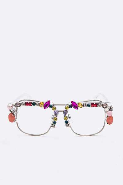Crystal Statement Bejeweled Clear Lens Optical Glasses