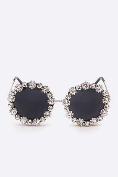 Crystal Flower Iconic Round Sunglasses