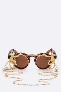 Iconic Monkey Flip Up Sunglasses With Chain