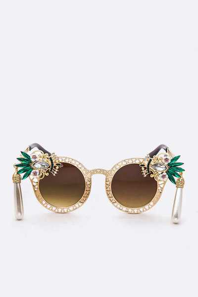 Iconic Crystal Pearl Drop Sunglasses