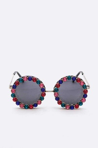 Crystal Statement Oversize Round Sunglasses