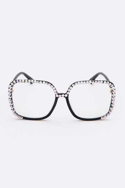 Crystal Pave Clear Lens Optical Glasses