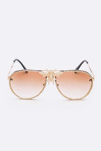 Crystal Pave Iconic Bee Aviator Sunglasses