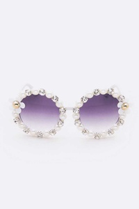Crystal Pearl Flower Round Sunglasses